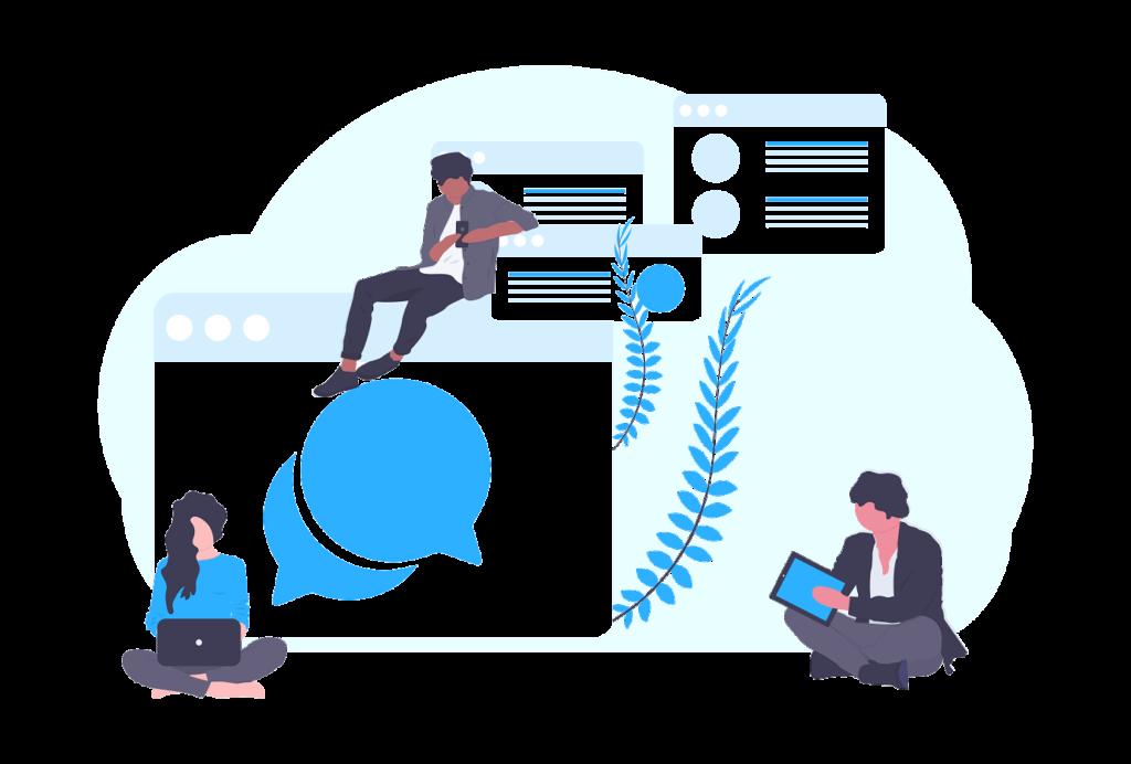 Ilustração de uma equipe de marketing digital trabalhando cada um em uma etapa do projeto.