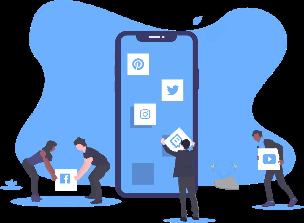 Ilustração de pessoas construindo um aplicativo para smartphone