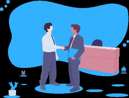 Dois homens apertando as mãos em frente a uma mesa de reuniões