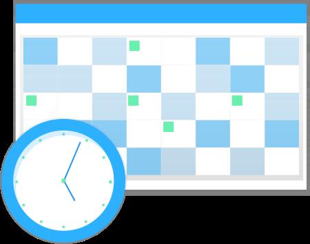 Um relógio com um calendário como pano de fundo.