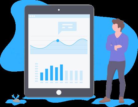 Ilustração de um tablet com aplicativo de análise ao lado de um homem em pé com os braços cruzados