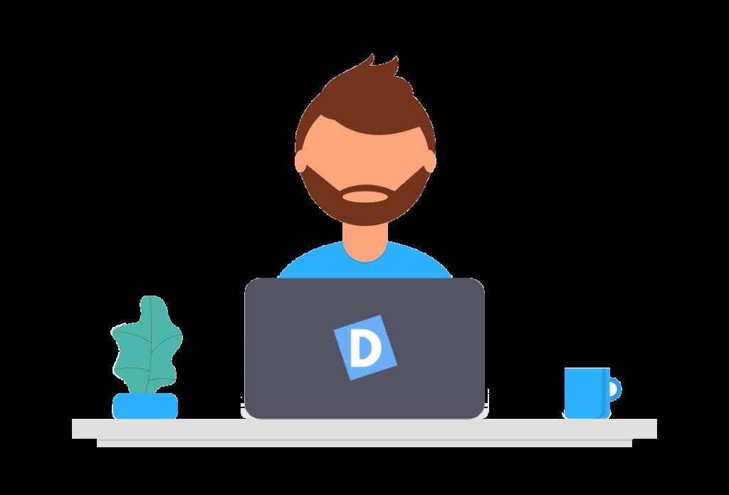 Ilustração de um desenvolvedor web trabalhando em seu notebook com uma caneca e uma pequena planta de cada um de seus lados.
