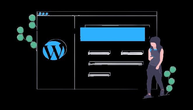 Ilustração de uma mulher caminhando com um smartphone conectado no wordpress